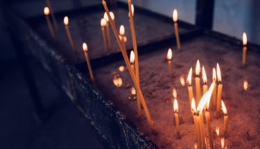 Church candles burning
